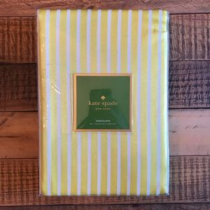 NWT KATE SPADE Tablecloth  60 X 120 Yellow & White